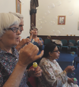 Relaxing with bubbles at Healthy Steps class